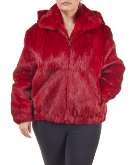 Plus Size Frances Red Rabbit Fur Bomber Jacket with Hood