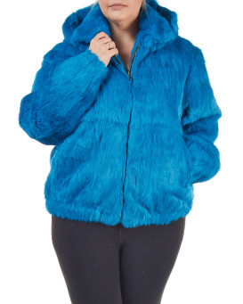 Plus Size Frances Sky Blue Rabbit Fur Bomber Jacket with Hood