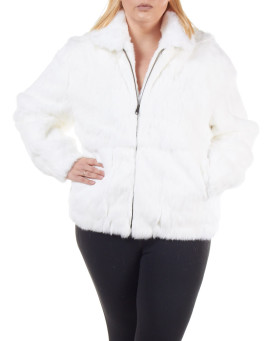 Plus Size Frances White Rabbit Fur Bomber Jacket with Hood