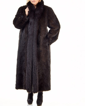 Plus Size Olivia Mink Full Length Coat with Fox Fur Tuxedo Colla
