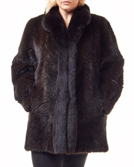 Plus Size Olivia Textured Mink Stroller Coat with Fox Tuxedo Col