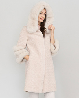 Poppy Beige Sheepskin Coat with Fox Fur Trim