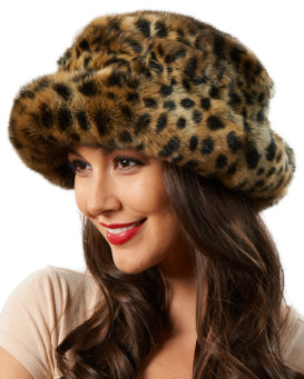 Avery Premium Faux Fur Hat in Cheetah Print