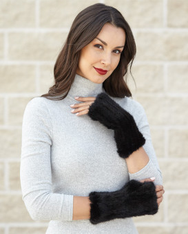 Presley Knit Mink Fingerless Gloves In Black