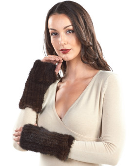 Presley Knit Mink Fingerless Gloves in Mahogany