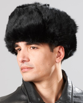 Black Rabbit Fur Russian Ushanka Hat for Men