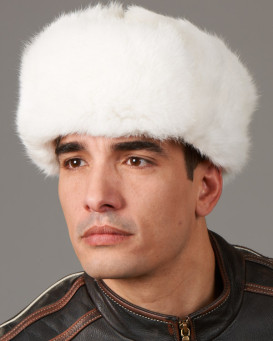 Rabbit Full Fur Russian Ushanka Hat for Men - White