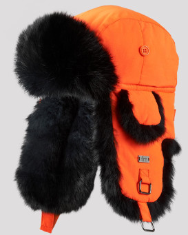 Blaze Orange B-52 Aviator Hat with Black Rabbit Fur for Men
