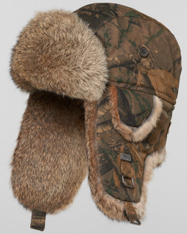 Camouflage Trapper Hat with Natural Brown Rabbit Fur for Men