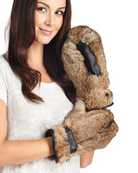 Siberia Rabbit Fur Mittens in Brown