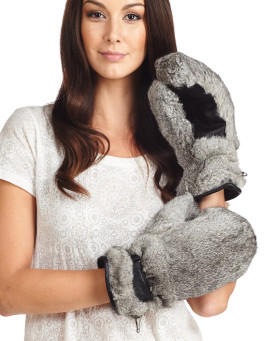 Siberia Rabbit Fur Mittens in Grey