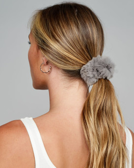 Rabbit Fur Scrunchie in Grey