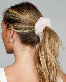 Rabbit Fur Scrunchie in Pastel Pink