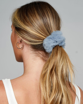 Rabbit Fur Scrunchie in Sky Blue
