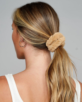 Rabbit Fur Scrunchie in Tan