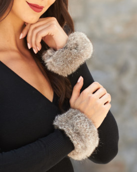 The Angelica Rabbit Fur Slap Cuffs in Grey
