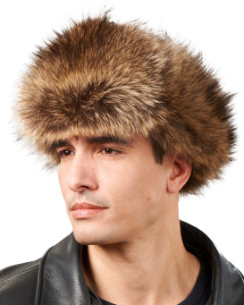 Raccoon Fur & Leather Trapper Hat