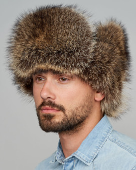 The Raccoon Fur Russian Trooper Hat for Men