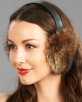 Raccoon Fur Ear Muffs with Leather Band