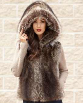 The Brynn Natural Raccoon Fur Vest with Collar for Women