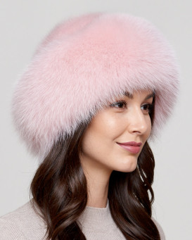 ff32485feef26 Raylene Pink Fox Fur Roller Hat with Mink Top