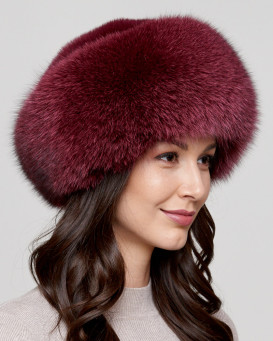 Raylene Wine Fox Fur Roller Hat with Mink Top