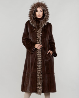 Rayna Long Hair Mink Full Length Coat with Dyed Silver Fox Trim