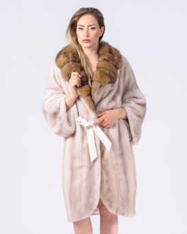 Reagan Lavender Mink Fur Coat with Marten Fur Notch Collar and Cuffs