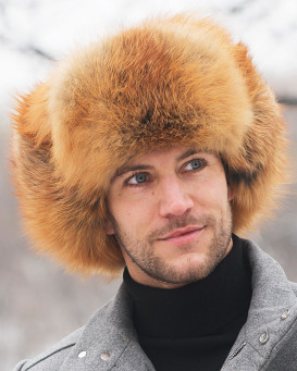Red Fox Full Fur Russian Hat for Men