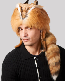Red Fox Fur Davy Crockett Men's Hat with Face & Legs