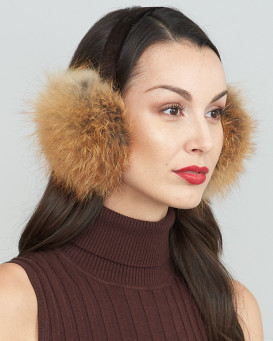 Red Fox Fur Earmuffs with Velvet band