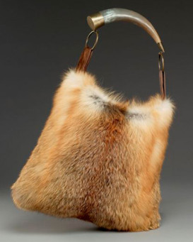 Dominique Red Fox Fur Purse with Horn Handle