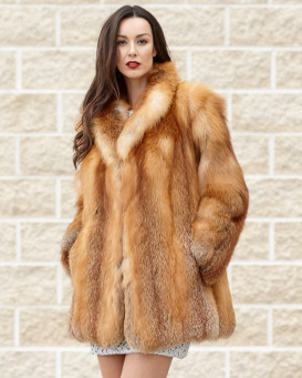 The Karina Red Fox Fur Jacket with Matching Collar: FurHatWorld.com