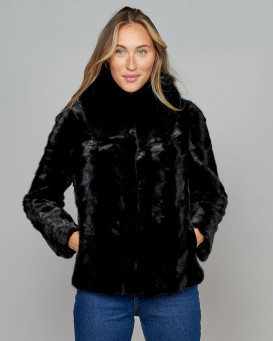 Regina Mosaic Mink Jacket in Black with Fox Fur Collar