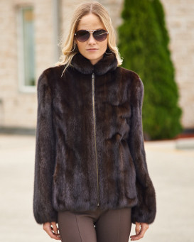 Riley Long Hair Mink Bomber Jacket