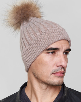 Rocco Knit Beanie Hat with Finn Raccoon in Brown