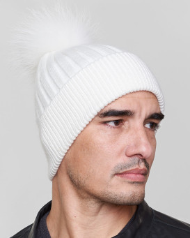 Rocco Knit Beanie Hat with Finn Raccoon in White for Men