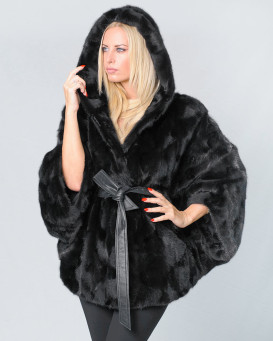 Rory Hooded Black Mink Fur Cape