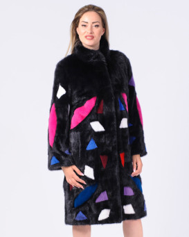 Rosalie Multi-Color Mink Fur Coat with Detachable Mink Fur Patches