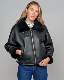 Roxanne Leather Sheepskin Moto Jacket in Black