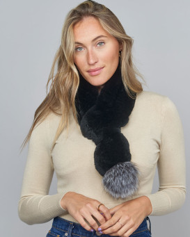 Dolce Black Rex Rabbit Fur Pull Through Scarf with Silver Fox Pom Pom