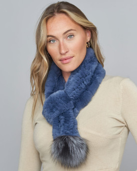 Dolce Denim Rex Rabbit Fur Pull Through Scarf with Silver Fox Pom Pom