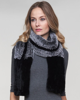 Saffron Rex Rabbit Fur Pull Through Infinity Scarf in Frost Black