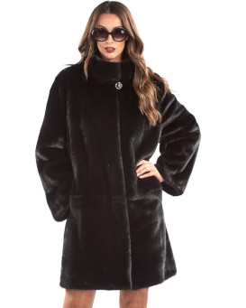 Samara Black Mink Fur Coat with Stand up Collar