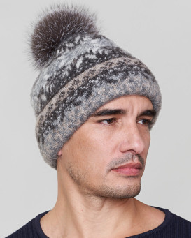 Santiago Wool Beanie Hat with Silver Fox for Men