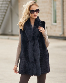 Eliza Sculptured V-cut Mink Vest with Fox Fur Trim