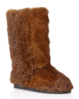 Shaggy Rabbit Fur Flat Boots in Brown