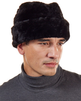 Black Sheared Beaver Russian Cossack Hat for Men