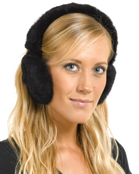 Sheared Rabbit Fur Earmuffs in Black