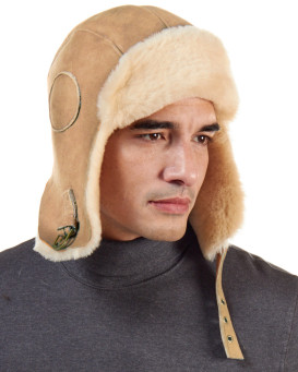Shearling Sheepskin Pilot Hat in Camel for Men